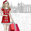 Santa girl with christmas gifts — Stock Photo #37082991