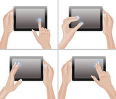 Tablet screen with hands — Stock Vector