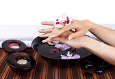 Woman's hands with orchids and bowl of water — Stock Photo