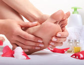 Foot care and massage — Stock Photo