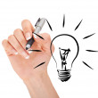 Hand drawing light bulb — Stock Photo