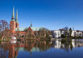 Trave river, old town of Lubeck, Germany  — Stock Photo