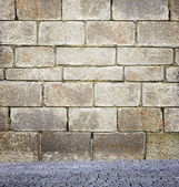 Wall and stone floor background  — Stock Photo