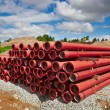 Stock Photo: PVC pipes on construction site