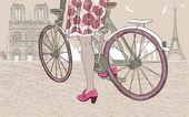 Riding a bike — Stock Vector