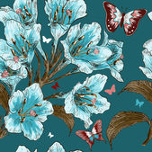 Seamless pattern with Branch of spring flower — Stockvector