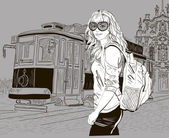 Fashion girl and old tram, urban scene — Stock Vector