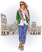 Young girl in sketch-style on a french background — Stock Vector