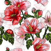 Seamless pattern with red Hibiscus flowers and ladybird — Stock Vector