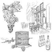Vector wine set — Stock Vector