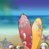 Surfboards on summer beach — Stock Vector