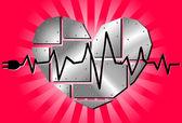 Vector metal heart — Stock Vector