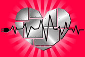 Vector metal corazón — Vector de stock