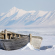 Arctic, frozen old wooden boat — Stock Photo