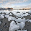 Ice on the Arctic beach - Spitsbergen, Svalbard — Stock Photo