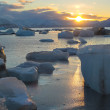 Sun over the freezing Arctic fjord - Svalbard — Stock Photo #24407779