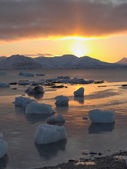 Arctic sunrise - vertical landscape - Svalbard — Stockfoto