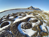 Patterned ground in the Arctic tundra - natural phenomenon of rocks selection - Spitsbergen, Svalbard — Stockfoto