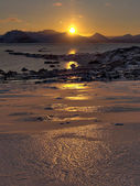 Arctic sunrise - vertical landscape - Svalbard — Stock Photo
