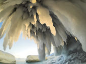 Icicles under the Arctic glacier - Spitsbergen — Stock Photo