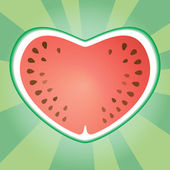 Wattermelon heart — Stock Vector