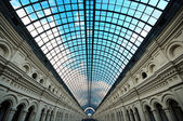 Perspective Glass roof of long building — Stock Photo