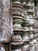 Stone window of temple in Vat Phou, Laos — Stock Photo