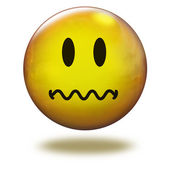 Render emoticon 3D. Fearful — Stock Photo
