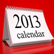 Calendar 2013 in red background — Stock Photo