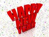 Happy nex year and confetti — Stock Photo