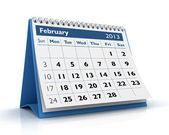 února 2013 kalendář — Stock fotografie