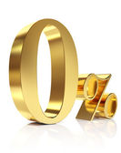 Gold zero percent discount symbol — Stock Photo