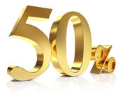 Gold fifty percent discount symbol — Stock Photo