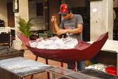 Preparing seafood showcase — Stock Photo