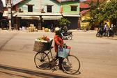 Prodejce kol ovoce — Stock fotografie
