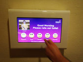 Touch screen for rating the toilet of Singapore airport — Stock Photo