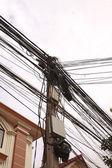 Busy utility pole — Stock Photo
