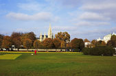 Picture of a park in Vienna, with Wiener Rathaus (Vienna City Ha — Stock Photo