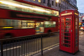 Bus and telephone box, London — Stock Photo