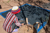 Drying coffee in Vietnam — Stock Photo