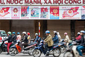 Motorcycle drivers in Hanoi, Vietnam — Stock Photo