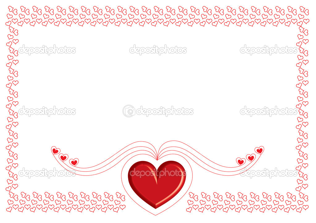 Valentine card with small red heart on white   Stock Photo #18984627
