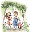 Boy, girl and a dog walking in the park — 图库照片