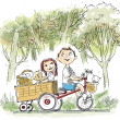 Kids on the bike — Stock Photo