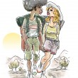 图库照片: Young Couple trekking