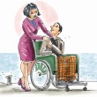 Helping partner on a wheel chair — Stock Photo