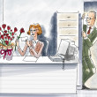 Office romance — Stockfoto