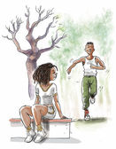 Young black couple in the park — Stock Photo