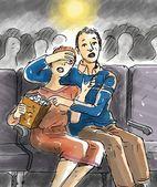 Watching a horror movie — Foto de Stock