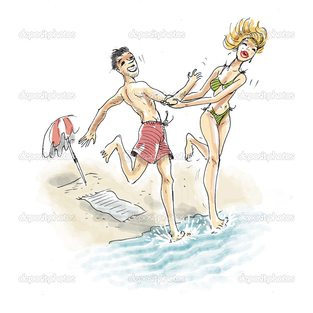 Happy couple are having fun and entering the sea together — Stock Photo #15341971